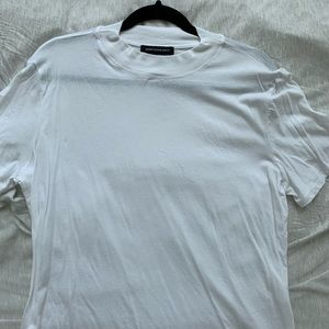 Something Navy Mock-neck White T-shirt
